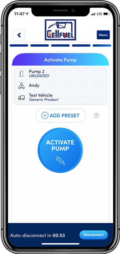 Screenshot of active pump